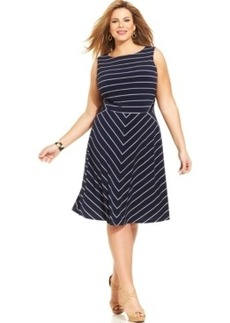 Charter Club Plus Size Striped A-Line Dress