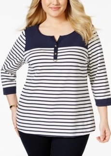 Charter Club Plus Size Striped Colorblocked Henley Top, Only at Macy's