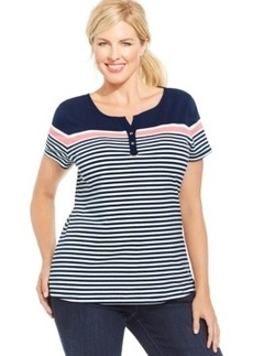 Charter Club Plus Size Striped Colorblocked Tee