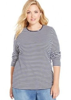 Charter Club Plus Size Striped Crew-Neck Top, Only at Macy's