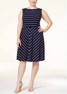 Charter Club Plus Size Striped Fit & Flare Dress, Only at Macy's