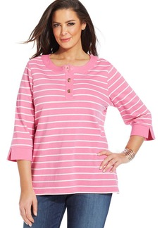 Charter Club Plus Size Striped Henley Top