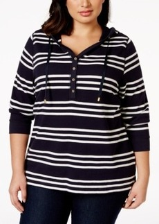 Charter Club Plus Size Striped Hooded Henley Top, Only at Macy's