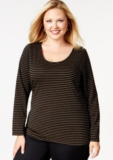 Charter Club Plus Size Striped Long-Sleeve Top, Only at Macy's