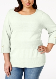 Charter Club Plus Size Striped Pullover Sweater, Only at Macy's