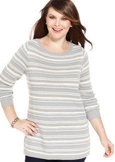 Charter Club Plus Size Striped Tunic Sweater