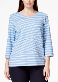 Charter Club Plus Size Striped V-Neck Top, Only at Macy's