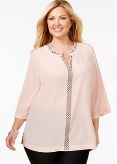Charter Club Plus Size Studded Blouse, Only at Macy's