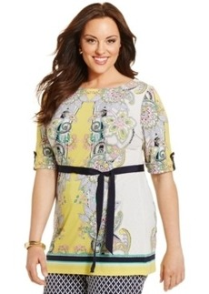 Charter Club Plus Size Tab-Sleeve Paisley-Print Belted Tunic