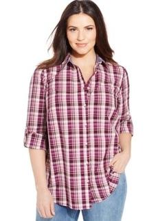 Charter Club Plus Size Tab-Sleeve Plaid Shirt