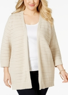 Charter Club Plus Size Textured-Knit Open-Front Cardigan, Only at Macy's