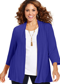 Charter Club Plus Size Three-Quarter-Sleeve Cardigan