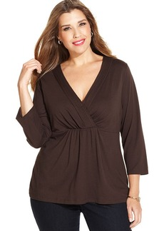 Charter Club Plus Size Three-Quarter-Sleeve Cross-Front Top