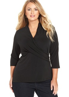 Charter Club Plus Size Three-Quarter-Sleeve Crossover Top