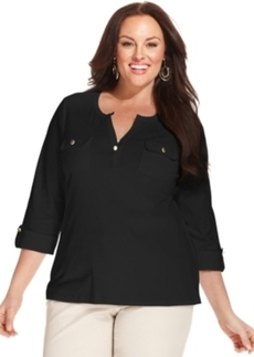 Charter Club Plus Size Three-Quarter-Sleeve Henley Top
