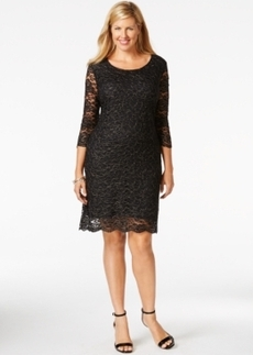 Charter Club Plus Size Three-Quarter-Sleeve Lace Dress, Only at Macy's