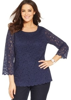 Charter Club Plus Size Three-Quarter-Sleeve Lace Top