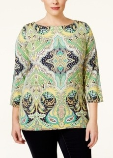 Charter Club Plus Size Three-Quarter-Sleeve Paisley-Print Top, Only at Macy's
