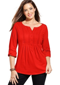 Charter Club Plus Size Three-Quarter-Sleeve Pintucked Top
