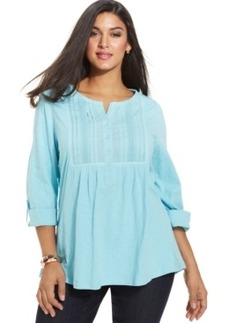 Charter Club Plus Size Three-Quarter-Sleeve Pintucked Top, Only at Macy's