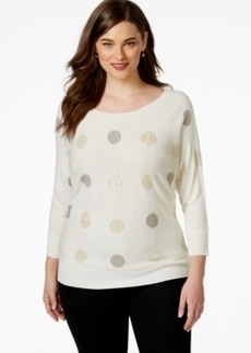 Charter Club Plus Size Three-Quarter-Sleeve Printed Sweater, Only at Macy's