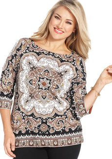 Charter Club Plus Size Three-Quarter-Sleeve Printed Top