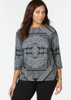 Charter Club Plus Size Three-Quarter-Sleeve Printed Top, Only at Macy's
