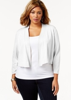 Charter Club Plus Size Three-Quarter-Sleeve Shrug Cardigan, Only at Macy's