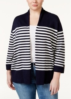 Charter Club Plus Size Three-Quarter-Sleeve Striped Cardigan, Only at Macy's