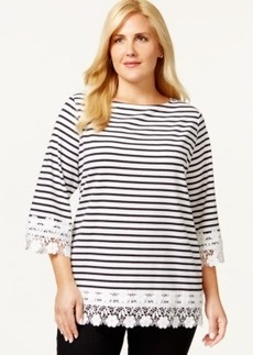 Charter Club Plus Size Three-Quarter-Sleeve Stripe Crochet Trim Top, Only at Macy's