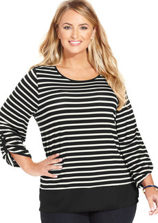 Charter Club Plus Size Three-Quarter-Sleeve Striped Top