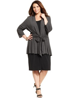 Charter Club Plus Size Tie-Front Cardigan Layered Dress