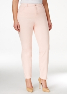 Charter Club Plus Size Tummy-Control Pink Cloud Wash Ankle Jeans, Only at Macy's