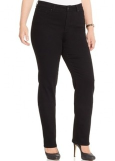 Charter Club Plus Size Tummy-Control Straight-Leg Saturated Black Wash Jeans, Only at Macy's