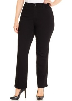 Charter Club Plus Size Tummy-Control Straight-Leg Jeans, Saturated Black Wash, Only at Macy's