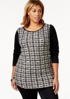Charter Club Plus Size Tweed Pullover Sweater, Only at Macy's