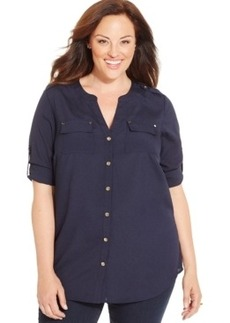 Charter Club Plus Size Utility Blouse, Only at Macy's