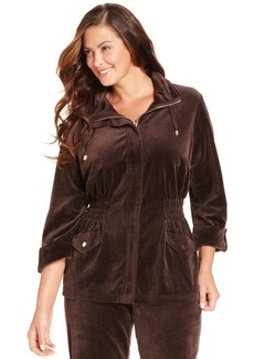 Charter Club Plus Size Velour Anorak Jacket