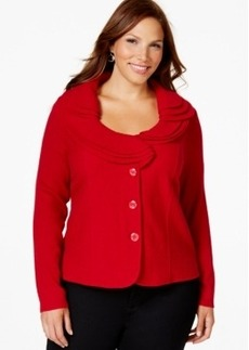 Charter Club Plus Size Wool Ruffled Cardigan, Only at Macy's