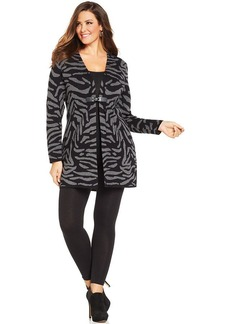 Charter Club Plus Size Zebra-Print Duster Cardigan