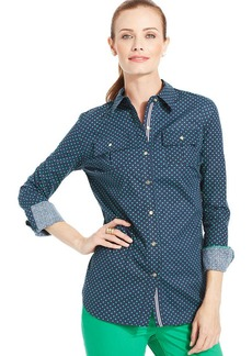 Charter Club Polka-Dot Utility Shirt