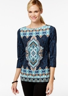 Charter Club Printed 3-Button Shoulder Top, Only at Macy's