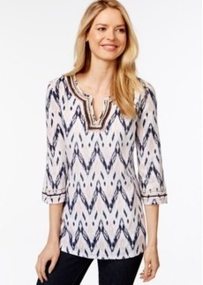 Charter Club Printed Bead-Trim Linen Tunic, Only at Macy's