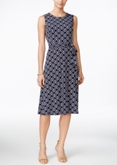 Charter Club Printed Fit & Flare Belted Dress, Only at Macy's