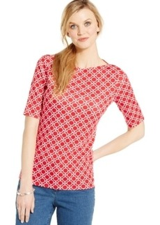 Charter Club Printed Boat-Neck Elbow-Sleeve Top