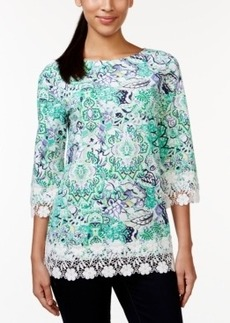Charter Club Printed Crochet-Trim Top, Only at Macy's