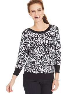 Charter Club Printed Dolman-Sleeve Sweater