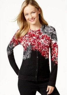 Charter Club Printed Embellished Button-Front Cardigan, Only at Macy's