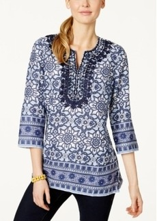 Charter Club Printed Embroidered Linen Tunic, Only at Macy's