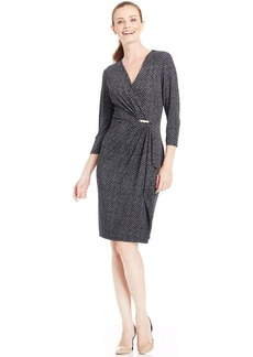 Charter Club Printed Faux-Wrap Hardware Dress